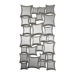 Uttermost - Uttermost Rigel 32x57 Wall Mirror - This unusual mirror features numerous, separately framed mirrors all attached to create one. Frames have a lightly antiqued silver leaf finish. May be hung either horizontal or vertical.