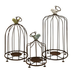 Grandin Road - Set of Three Louise Birdcage Candleholders - Set of three candleholders sculpted in the form of birdcages, crowned with ceramic songbirds. Three unique designs add dimension and variety to the display. Cages and candle pedestals are crafted from sturdy metal with an antique brown finish. Ceramic birds are finished with a rustic glazed finish. Fill the trio with our Flameless Candles (sold separately). Attract the set of three charming Louise birdcage candleholders to your tabletop tableau or garden-themed mantel. Each rustic wire cage is topped with a ceramic songbird finished with a rustic pastel glaze. Illuminate the chirpy trio with a group of pillar candles or votives, then sit back and enjoy a most cheerful display fit for any season.  .  .  .  .  .