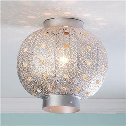Pierced Moroccan Metal Globe Ceiling Light - Shades of Light -