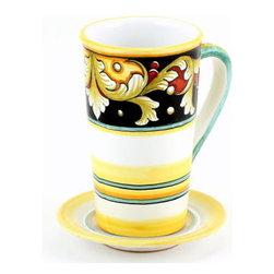 Artistica - Hand Made in Italy - Deruta Vario: Tall Mug 16 Oz. with Saucer - Deruta Vario