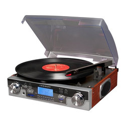 Crosley - Crosley Tech Turntable - Mahogany Brown - CR6007A-MA - Shop for Turntables from Hayneedle.com! Go back to the days of dark wood paneling the Beatles and platform shoes but keep your music collection delightfully digital with the Crosley Tech Turntable. Plug in a USB or SD card to transfer music from your old beloved records onto CDs or your MP3 player and you're on the way to effortless vinyl preservation. The superior sound of vinyl through the built-in speakers will keep you grooving with the music but if you need to jam in peace just plug some headphones into the headphone jack. This turntable even boasts an AM/FM radio with an external FM antenna and an MP3 player hookup so you can tune into your favorite local station or your digital music collection anytime. Use a convenient playback feature to listen to prerecorded MP3 files making your turntable experience more versatile than ever before. Includes mirror face plate and wood in your choice of finish. It's an outstanding music experience that won't do you wrong in style or sound.About CrosleyIn 1920 Powel Crosley founded the company that pioneered radio broadcasting and mass market manufacturing around the world. Dismayed with the $130 price tag for the radio receiver he promised to buy for his son's birthday Crosley decided to make his own. Upon successfully building a working set for only $35 Crosley was quick to spot the mass market potential. It was a simple idea--design a fully functioning radio meticulously craft each unit with obsessive detail and precise accuracy and of course add a measure of consideration for the wallet.Today the Crosley name lives on with superbly detailed replicas that truly transcend time. Reintroductions of original vintage radios and turntables feature the newest technologies graced by unforgettable Crosley stylings. The Crosley Collection includes AM/FM radios portable suitcase-style record players and turntables record changers multi-functional audio cassette/compact