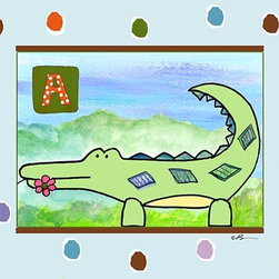 Oh How Cute Kids by Serena Bowman - A  is for Alligator in Blue, Ready To Hang Canvas Kid's Wall Decor, 24 X 30 - Each kid is unique in his/her own way, so why shouldn't their wall decor be as well! With our extensive selection of canvas wall art for kids, from princesses to spaceships, from cowboys to traveling girls, we'll help you find that perfect piece for your special one.  Or you can fill the entire room with our imaginative art; every canvas is part of a coordinated series, an easy way to provide a complete and unified look for any room.