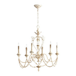 Persian White / Silver Vintage Look Six Light Chandelier - *Florine Six Light Chandelier