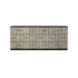 Rubik Entertainment Console - The Rubik Entertainment Console from Redford House. Mid Century Modern cool. 3D patterns with a rustic and tarnish silver hand painted piece that will be contemporary and timeless. Redford House really rocked this one.