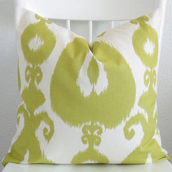 Decorative Ikat Pillow Cover By Chic Decor Pillows - When you think spring you probably don't think ikat, but think again! In a chartreuse and white color palette, the traditional pattern can morph into a springy inspiration.