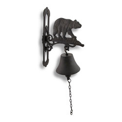 Zeckos - Wall Mounted Cast Iron Bear Bell with Rust Patina - Add a decorative accent to your porch or patio with this cast iron bell. It features a black bear on the top and a 4 inch diameter bell that rings loud and clear. It measures 10 1/4 inches tall, 6 3/4 inches deep, 2 1/4 inches wide, and the chain to ring the bell is 7 1/2 inches long. Use it as a dinner bell to call the kids in, as a doorbell on your back porch to announce visitors, or as a decorative accent. This piece is sure to be admired, and makes a great gift for a friend. Note: Some assembly required, mounting hardware not included.