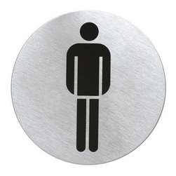 Blomus - Round Stainless Steel Restroom Sign - Men's - Don't think for a moment that this iconic man and woman have limited employment possibilities. Yes, they are admirable at directing traffic to the proper restroom, but they have the potential to be so much more. These graphic restroom signs invite you to be inventive.