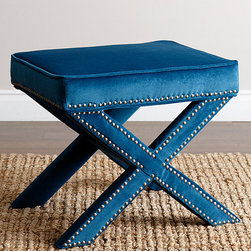 Abbyson Living - Petrol Blue Nailhead-Trim Ottoman Bench - Touch up your décor with this plush ottoman bench that features a rich hardwood frame, ultrasoft micro-suede upholstery and elegant nailhead trim for a comfortable and stylish seating option.   22.5'' W x 19'' H x 19'' D Hardwood / micro-suede Minimal assembly required Imported
