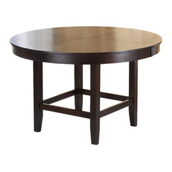 Modus Furniture - Modus Bossa 48 Inch Round Dining Table in Dark Chocolate - In Brazil, to do something with bossa is to do it with particular charm and natural flair. Available in counter and dining height with 48 and 54 inch tops, Bossa tables pair straight lined architectural bases with round floating tops, built out edge bands and book matched veneer surfaces. Parsons chairs, banquettes and kitchen counter stools are available in several fresh colors and blend transitional button tufting with a contemporary profile, upholstery application and wood finish. The result is an urban contemporary casual dining set designed with ample bossa.