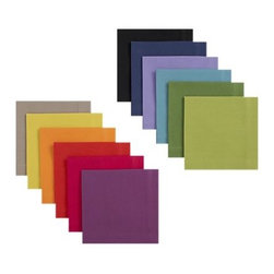 Set of Twelve Multicolored Cocktail Napkins - Wine charms are cute, but why not use color-coded cocktail napkins to help guests keep track of their glasses? These are durable and versatile.