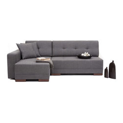 NYFU - Corner Convertable Sofa Bed - A wrap-around couch that converts into a double bed with a single slide? Furniture doesn't function more conveniently than that!Our sofa beds are not just for day time sleeping, they are bold and strong enough to accommodate your sleep every day & night! Class A HR-35 foam allows high-comfort sleeping and seating, while providing a durable form. Use this modern piece as a sofa with a left side chaise, or a comfortable full size sleeper sofa. The mid-grey color is an easy blend to your existing furniture, and comes with a long-life cotton and linen base fabric. Ideal for urbanites who like to use their corners efficiently, and of course, who love multi functional products.