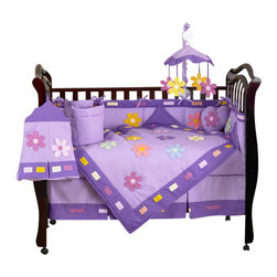 Sweet Jojo Designs - Daisies 9 Piece Crib Bedding Set - The Daisies 9 Piece Crib Bedding Set is just one of the crib bedding sets we offer from Sweet Jojo Designs. The 9-Piece baby bedding set includes a crib blanket, fitted crib sheet, crib bumper pads, crib skirt (dust ruffle), diaper stacker, toy bag, decorative pillow, and two window valances. This baby girl crib bedding set will make any girl's room feel special!
