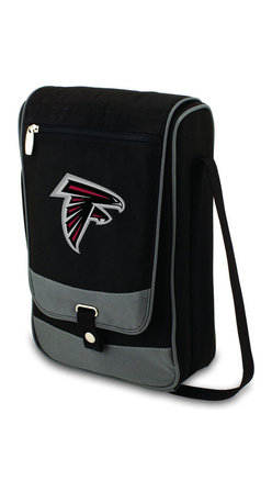 "Picnic Time - Atlanta Falcons Barossa Wine Tote in Black - The Barossa is so sleek and sophisticated, you'll want to take it with you every chance you get. It's made of 600D polyester and features an adjustable shoulder strap that makes it easy to carry and a flat zippered pocket on the exterior flap. The Barossa is fully insulated to keep your wine the perfect temperature and has a divided interior compartment to separate your bottle of wine from the 2 (8 oz.) acrylic wine glasses included. Also included are: 1 stainless steel waiter style corkscrew, 1 bottle stopper (nickel-plated), and 2 napkins (100% cotton, 14 x 14"", Black with silver pinstripe). The Barossa wine tote is perfect for picnics, concerts, or travel and makes a wonderful gift for those who enjoy wine.; Decoration: Digital Print; Includes: 2 stainless steel waiter style corkscrew, 1 bottle stopper (nickel-plated), and 2 napkins (100% cotton, 14 x 14"", Black with silver pinstripe)"