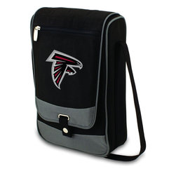 """Picnic Time - Atlanta Falcons Barossa Wine Tote in Black - The Barossa is so sleek and sophisticated, you'll want to take it with you every chance you get. It's made of 600D polyester and features an adjustable shoulder strap that makes it easy to carry and a flat zippered pocket on the exterior flap. The Barossa is fully insulated to keep your wine the perfect temperature and has a divided interior compartment to separate your bottle of wine from the 2 (8 oz.) acrylic wine glasses included. Also included are: 1 stainless steel waiter style corkscrew, 1 bottle stopper (nickel-plated), and 2 napkins (100% cotton, 14 x 14"""", Black with silver pinstripe). The Barossa wine tote is perfect for picnics, concerts, or travel and makes a wonderful gift for those who enjoy wine.; Decoration: Digital Print; Includes: 2 stainless steel waiter style corkscrew, 1 bottle stopper (nickel-plated), and 2 napkins (100% cotton, 14 x 14"""", Black with silver pinstripe)"""