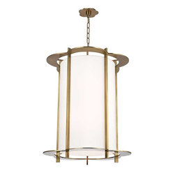 Hudson Valley Lighting - Hudson Valley Warwick I-10 Light Pendant in Aged Brass - Hudson Valley Lighting's Warwick's I-10 Light Pendant shown in Aged Brass. By the 1960s, a design evolution was gaining momentum. While continuing to embrace early modernism's enthusiasm for clean design, Mid-Century Modernists elevated expression and sculptural forms. Warwick enlivens a clean cylindrical shade with a floral-patterned cast metal frame. The playful curves of Warwick's outline complement its sleek vertical columns, for a look that is both fun and elegant.
