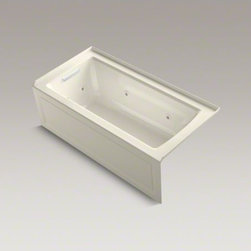 """KOHLER - KOHLER Archer(R) 60"""" x 30"""" three-side integral flange whirlpool with left-hand d - Taking its design cues from traditional Craftsman furniture, the Archer line of baths reveals beveled edges and curved bases for a clean, sophisticated style. This bath offers a low step-over height while allowing deep, comfortable soaking. Whirlpool jets relax away the day's tension as a built-in heater keeps your water at the perfect temperature. KOHLER ExoCrylic(TM) is the next generation of bathroom acrylics, featuring a lighter weight for easier installation and 90% fewer VOCs produced during manufacturing."""