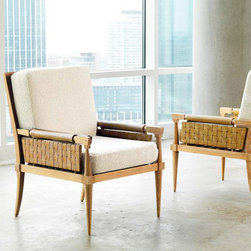 """Global Views - Global Views Palm Beach Light Wood Taupe Boucle Chair - Texture-rich woven belt leather forms the back and side panels of the mid-century modernist Palm Beach armchair from Global Views. Taupe boucle cushions complement its light limed-finished wood frame for a look that works in traditional and contemporary interiors. 26.25""""W x 32""""D x 36.25""""H; Rift cut white American oak with light limed finish; Blonde woven belt leather; Tapered front legs, saber back legs"""