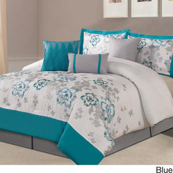 None - Eastland 7-piece Comforter Set - The 7-piece Eastland comforter set features a delicate floral embroidery on a soft background for an updated chic and contemporary look. The set is further enhanced with a coordinating bedskirt and throw pillows.