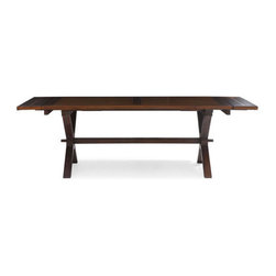 Zuo Modern - Laurel Heights Table - The Laurel Heights table is a classic trestle style hearkens back to its 17th-century origins. The table is solid, finished elm wood with two leaves on both ends to expand when you have a large group. Some assembly is required.