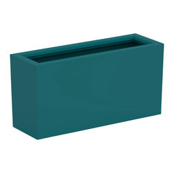 Decorpro - Medium Aberdeen Planter, Teal - The Aberdeen planter is perfect for indoor and outdoor use. Use this planter indoors to create an amazing garden for fresh herbs and vegetables. The slender depth and elongated width allows for a versatile range of placements and uses.