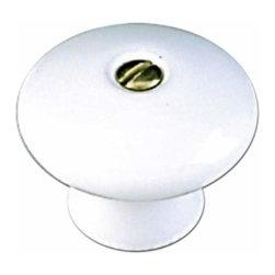 Richelieu Hardware - Richelieu Eclectic White Ceramic Knob 1 3/8 Inch (6/32) White - Richelieu Eclectic White Ceramic Knob 1 3/8 Inch (6/32) White