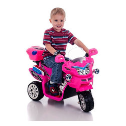 Lil Rider - Lil Rider FX 3 Wheel Motorcycle Bike Battery Powered Riding Toy - Pink - 80-KB90 - Shop for Tricycles and Riding Toys from Hayneedle.com! She'll love cruising the sidewalks on a motortrike that goes with her favorite princess dress with the Lil Rider FX 3 Wheel Battery Powered Bike - Pink. Built tough enough to roll on sidewalks lawns and dirt paths this 3-wheeled motortrike reaches a top speed of 1.75 mph. Press a button for rousing sound effects. It even has headlights that really turn off and on. Comes with a 6V battery and a charger that plugs into a standard 110V wall outlet. Requires adult supervision. Keep children away from roads and moving vehicles.