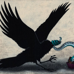 """Your Help Will Be Needed In An Embarrassing Situation"" (Original) By Kamilla Wh - This Is The First In What I Will Call My Fortune Cookie Series. I Have Been Collecting Fortunes For A Few Years Now, And Am Finally Getting Around To Creating Paintings Inspired By These Tiny Snippets Of Wisdom. This Little Crow Is Getting More Than He Bargained For From An Innocent-Looking Piece Of Chocolate. Hoping For Crunchy Frog, It Seems Instead He'S Scored A Tentacle Truffle."