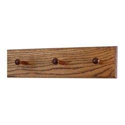 "PegandRail - Solid Oak Shaker Peg Rack 4.5"" Extra Wide - Hand Crafted in the USA, Chestnut, 1 - Made in The USA"