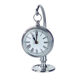 IMAX Worldwide - IMAX Worldwide Hanging Clock in Pewter - Round pewter desk clock, hangs on stand.