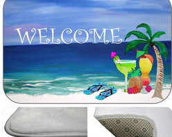 Tropical Drinks Welcome , 20X15 - Bath mats from my original art and designs. Super soft plush fabric with a non skid backing. Eco friendly water base dyes that will not fade or alter the texture of the fabric. Washable 100 % polyester and mold resistant. Great for the bath room or anywhere in the home. At 1/2 inch thick our mats are softer and more plush than the typical comfort mats.Your toes will love you.