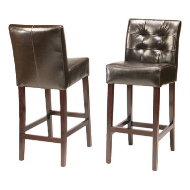 Four Hands - Charles Barstool - With a stool this elegant and comfortable, you may never want to leave the bar. From the handmade oak frame in a rich, dark finish to the soft seat and back tufted and upholstered in bicast leather, it's a great addition to your room. Please buy responsibly.