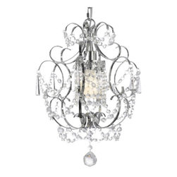 "The Gallery - Chrome Crystal Chandelier Chandeliers Lighting H 15"" W 11.5"" SWAG PLUG IN-CHA... - 100% Crystal Chandelier. A Great European Tradition. Nothing is quite as elegant as the fine crystal chandeliers that gave sparkle to brilliant evenings at palaces and manor houses across Europe. This beautiful chandelier from the Versailles Collection has 1 light and is decorated and draped with 100% crystal that capture and reflect the light of the candle bulb. The timeless elegance of this chandelier is sure to lend a special atmosphere anywhere its placed!ASSEMBLY REQUIRED. H 15"" W 11.5"" 1 LIGHT. THIS ITEM COMES WITH A SWAG PLUG-IN KIT , 14 FEET OF HANGING CHAIN AND WIRE"