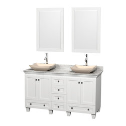 "Wyndham Collection - 60"" Acclaim White Double Vanity w/ White Carrera Top & Avalon Ivory Marble Sink - Sublimely linking traditional and modern design aesthetics, and part of the exclusive Wyndham Collection Designer Series by Christopher Grubb, the Acclaim Vanity is at home in almost every bathroom decor. This solid oak vanity blends the simple lines of traditional design with modern elements like beautiful overmount sinks and brushed chrome hardware, resulting in a timeless piece of bathroom furniture. The Acclaim comes with a White Carrera or Ivory marble counter, a choice of sinks, and matching mirrors. Featuring soft close door hinges and drawer glides, you'll never hear a noisy door again! Meticulously finished with brushed chrome hardware, the attention to detail on this beautiful vanity is second to none and is sure to be envy of your friends and neighbors"