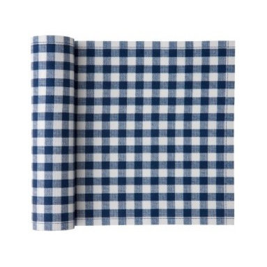 """MYdrap - Cotton Vichy Napkin, Blue Vichy - Do those fresh checks say """"picnic"""" to you? You're in luck: These cotton napkins come on a roll and are perfect for a festive outdoor affair. More stylish and substantial than paper napkins, they will add some cheer to your spread and won't blow away as easily. But if you do lose one, no big deal — they are intended for only up to six uses. Keep them and wash them, or discard; it's up to you."""