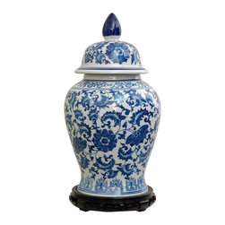 Oriental Unlimted - 18 in. High Blue & White Floral Porcelain Tem - Rosewood stand sold separately. Large sized Chinese porcelain spice jars. Chinese temple shape with a removable lid. Offered at an outstandingly affordable, direct importer's price. This item shot with the stand for illustration purposes, the stand is sold separately. Please select the 7.5 in. size of Rosewood Pedestal Stand, Rosewood Carved Stand or Rosewood Vase Stand. . 10 in. Dia. x 18 in. H (11.5 lbs.). Opening: 5 in. Dia.