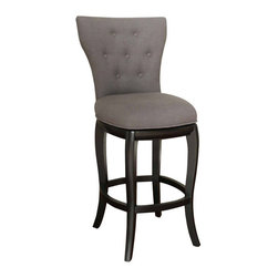 American Heritage - American Heritage Lydia 30 Inch Bar Stool in Black - Simple and stylish, with curves in all the right places. Features a wood frame with a black finish and a fully upholstered high-back seat in Smoke Linen, a full-bearing 360 degree swivel, mortise and tenon construction, adjustable leg levelers, and webbed seating for enhanced comfort. What's included: Stool (1).