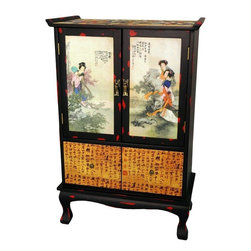 Oriental Furniture - Beauty in the Garden Two-Door Cabinet - A beautiful Chinese design altar cabinet, with traditional up turned edges on top, particular to altar cabinets, chests, and tables. Often adorned with images of revered relatives or religious icons, as well as candles, incense, and precious objects. For home decor, this chest offers practical cabinet and drawer space, beautifully decorated with colorful oriental decoupage applique.