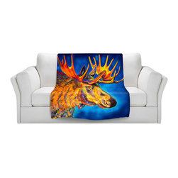DiaNoche Designs - Fleece Throw Blanket by Teshia - Moose Blues - Original Artwork printed to an ultra soft fleece Blanket for a unique look and feel of your living room couch or bedroom space.  DiaNoche Designs uses images from artists all over the world to create Illuminated art, Canvas Art, Sheets, Pillows, Duvets, Blankets and many other items that you can print to.  Every purchase supports an artist!