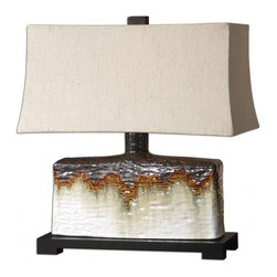 """Uttermost - Adelanto Ivory Glaze Ceramic Table Lamp - Textured Ceramic Base Finished In An Antiqued Ivory Glaze With A Metallic Dark Bronze And Rusty Orange Drip. The Rectangle Bell Shade Is A Khaki Linen Fabric With Natural Slubbing. Dimensions: 10""""W X 20""""D X 22""""H; Finish: Textured Ceramic Base Finished in an Antiqued Ivory Glaze with a Metallic Dark Bronze and Rusty Orange Drip; Bulbs: Uses Up To 100 Watt Bulbs (Not Included); Lampshade: Rectangular Bell Shade; Weight: 15 lbs; UL Approved"""
