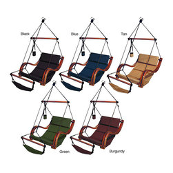 None - Deluxe Porch Swing - Bring some comfort and luxury to your porch area with this deluxe hardwood porch swing. With cushions made from hard-wearing nylon and a kiln-dried hardwood frame, this porch swing will bring years of comfort and relaxation right on your own doorstep.