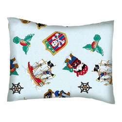 SheetWorld - SheetWorld Twin Pillow Case - Percale Pillow Case - Pirates - Made in USA - Twin pillow case. Made of an all cotton woven fabric. Side Opening. Features the one and only pirates!