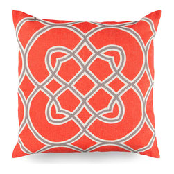 Orange Scrollwork Pillow - Hot, summer-bright orange color and serpentine lines make the Orange Scrollwork Pillow a visually bold choice for your home.  Its design, a modified lattice motif on a large scale, uses grey and cream neutrals to divide the surface of this designer cushion into floral, tile-like spaces that offer a global impression while coordinating graciously with any theme.