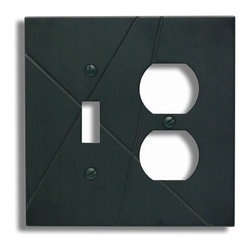 Atlas Homewares - Black Modernist Combo Outlet Switchplate (ATHNSCOBL) - Black Modernist Combo Outlet