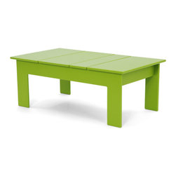 Loll Designs - Lollygagger Coffee Table Rectangle, Leaf Green - The Lollygagger Coffee Table works as a Cocktail Table too; and what's the difference anyway? When you're settling back in your Lollygagger lounge this table will hold your favorite patio accessories, a happy little plant, and even your bare feet. Available in round or rectangle it's sure to accommodate that negative space between you and your friends.