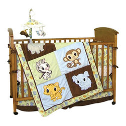 Trend Lab - Trend Lab Chibi 5-Piece Crib Bedding Set - Wide-eyed animal friends are the cutest companions for your baby with this crib bedding set. In unisex colors that are pleasing and fun, this cotton set is perfect for any baby's bedroom. Included is everything you'll need to prepare the crib — coverlet, 4-piece slipcover bumper, skirt and sheet.