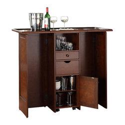 Crosley - Mobile Folding Bar, Mahogany - Elegantly ...