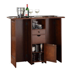 Crosley - Mobile Folding Bar, Mahogany - Elegantly entertain guests with this mobile folding bar cabinet constructed of solid hardwood and wood veneers. The bar's handsome raised panels are classically styled to enhance any home decor. The unit can be folded up to a third of its size and tucked away when you are finished entertaining, or just leave it open as a focal point in your room. Behind the bar, you will find plentiful storage space for spirits, glassware, and a host of other bar items. When open, the large 49-by-22-inch top is ideal for serving drinks or just hanging out with friends. Style, function, and quality make this mobile folding bar a wise addition to your home.