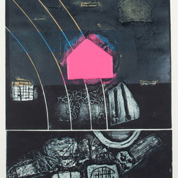 "Lost Art Salon - ""Pink Step"" Original Gary L Shaffer Collograph 1973 - Entitled ""Pink Step"", this 1973 estate stamped collograph on paper abstract is titled and numbered by New York/San Francisco artist Gary L. Shaffer (1936-2001). Shaffer trained with Hans Hoffman in the late 1950s and became an influential member of the Printmakers' Workshop in Manhattan. Shaffer moved to San Francisco in the late 1970s. His works are in the permanent collection of the Art Institute of Chicago and the Detroit Institute of Arts, amongst many others. Unframed."