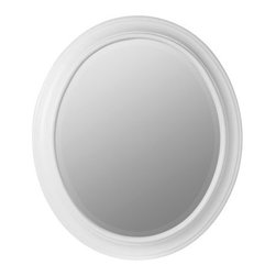 Cooper Classics Chelsea Oval Mirror - White - 26W x 30H in. - Decorative edging and a smooth Chesapeake white finish give the Cooper Classics Chelsea Oval Mirror's simple, elegant design a touch of contemporary style. The sturdy oval-shaped frame is crafted from solid poplar wood, fully surrounding a slightly inset beveled-edge mirror.The Cooper Classics Chelsea Oval Mirror measures 26W x 30H inches and weighs 18 pounds.About Cooper ClassicsFor over 50 years and across three generations, Cooper Classics has dedicated its expertise in wood-crafting to the production of high-quality and beautiful home furnishings. Each solid wood or composite Cooper Classic piece features both classic elements and unique style, and is carefully crafted to provide your home with a timeless and beautiful accent you can enjoy for years to come.