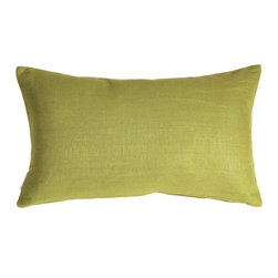 Pillow Decor - Pillow Decor - Tuscany Linen Apple Green 12 x 20 Throw Pillow - The Tuscany Linen 12 x 20 Throw pillows are 100% linen with a soft natural linen touch and texture. Available in a range of colors and sizes, these linen pillows are ideal solid color accent pillows for your bed or sofa. Mix and match to complement other accent colors in your home.